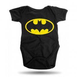 Batman logo bodyčko dětské černé, Velikost bodýček 6 - 12 měsíců