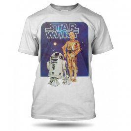 Star Wars robot C3PO a R2D2 tričko pánské modré, Velikost trička S
