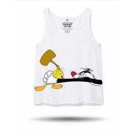 Looney Tunes Tweety a Sylvester tílko dámské bílé, Velikost trička S