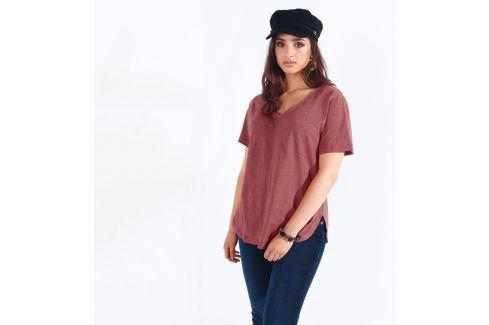 Venca Jednobarevné tričko s prýmkem tón v tónu nude růžová L Dámská trička