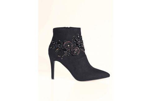 Venca Kotníkové boty s aplikací květin, na podpatku černá 35 Dámská obuv