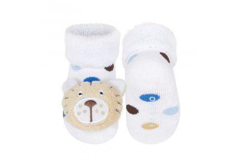 Ponožky s chrastítkem SOXO TYGŘÍK bílé Velikost: 16-18