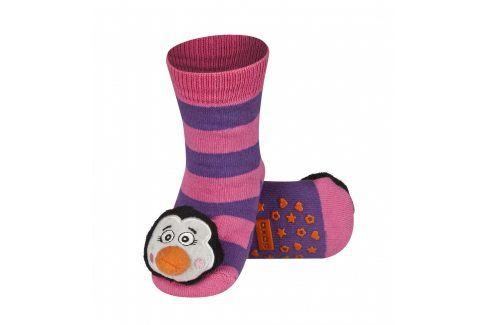 SOXO Ponožky s chrastítkem TUČŇÁK růžové Velikost: 19-21