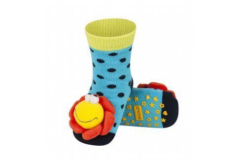 SOXO Ponožky s chrastítkem KYTIČKA modré Velikost: 19-21 Dětské ponožky s chrastítkem
