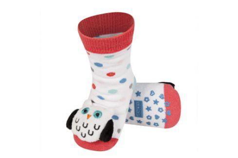 SOXO Ponožky s chrastítkem SOVA bílé Velikost: 19-21 Dětské ponožky s chrastítkem