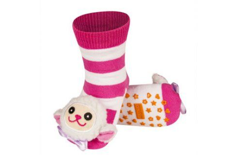 SOXO Ponožky s chrastítkem OVEČKA růžové Velikost: 19-21 Dětské ponožky s chrastítkem