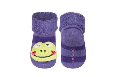 SOXO Ponožky s chrastítkem ŽABKA fialové Velikost: 16-18 Dětské ponožky s chrastítkem