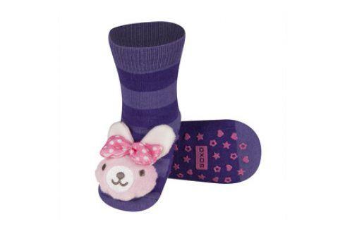 SOXO Ponožky s chrastítkem ZAJÍČEK fialové Velikost: 19-21 Dětské ponožky s chrastítkem