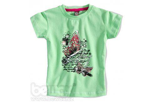 GIRLSTAR Dívčí tričko s krátkým rukávem MOTÝL zelené Velikost: 92-98 Trička a košile