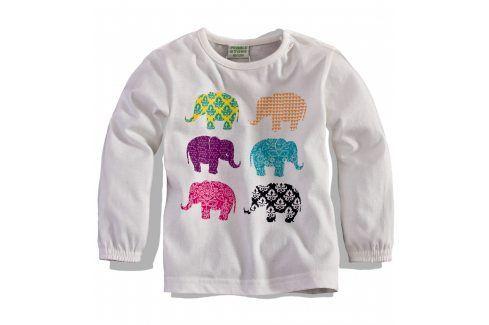 PEBBLESTONE Dívčí triko s dlouhým rukávem SLONI bílé Velikost: 68 Kojenecká trička a košilky