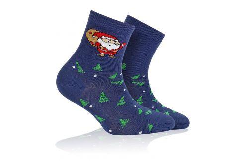 Dětské ponožky s vánočním vzorem WOLA SANTA CLAUS modré Velikost: 21-23 Dětské oblečení