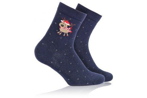 Dětské ponožky se zimním vzorem WOLA SOBÍK modré Velikost: 21-23 Dětské oblečení