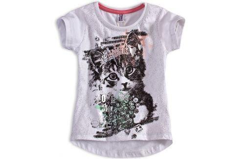 Dívčí tričko PEBBLESTONE KOČIČKA bílé Velikost: 92-98