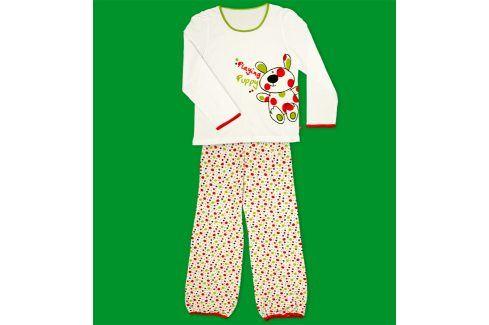 Dívčí pyžamo KEY PLAYING PUPPY bílé Velikost: 128 Dětská pyžama a košilky