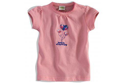 Kojenecké dívčí tričko PEBBLESTONE SRDÍČKA růžové Velikost: 68 Kojenecká trička a košilky