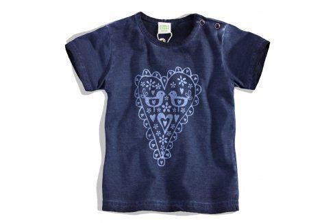 PEBBLESTONE Kojenecké dívčí tričko SRDÍČKO modré Velikost: 68 Kojenecká trička a košilky