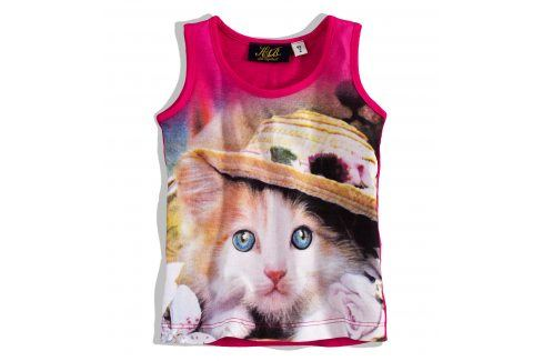 KNOT SO BAD Dívčí tričko bez rukávů KnotSoBad KOTĚ růžové Velikost: 92 Trička a košile